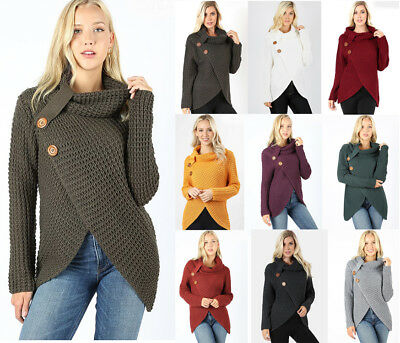 Women's Cozy Waffle Knit Sweater Boho Cowl Neck Wrap Front Long Sleeve Loose (Solid Cowl Neck Sweater)