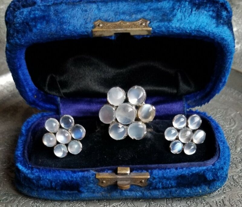 Antique Sterling Moonstone Set, Ring And Earrings, Arts And Crafts Era