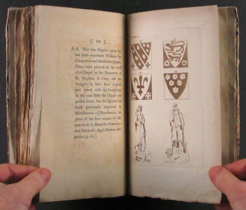 1794 Book : Norman French Armorial Tiles at Abbey in St.-Etienne, France