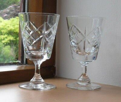 """2 x Cut Glass Crystal Sherry Glasses - 4.25"""" High - VGC"""