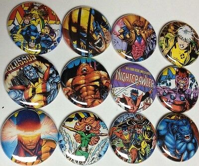 X-MEN Buttons Pins. Comic Books Wolverine Nightcrawler Cyclops Marvel
