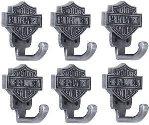 (6) HDL-10100 Harley Davidson Cast Metal Harley Davidson Bar & Shield Coat Hook