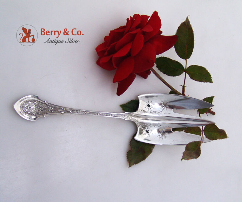 "Angelo Serving Fork 8 1/4"" Wood And Hughes Sterling Silver 1875"