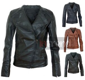LADIES FAUX LEATHER QUILTED WOMENS PVC BIKER JACKET COAT 4 COLOURS SIZES 6-14