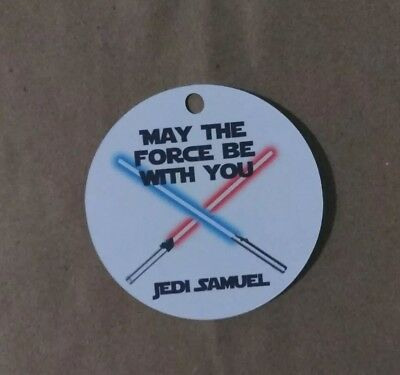 12 Personalized Star Wars birthday party favor tags. Light sabers, Jedi
