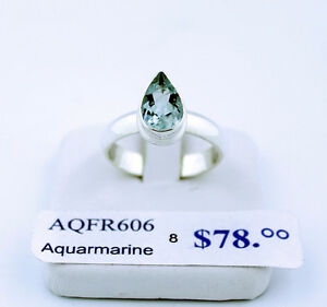Aquamarine Sterling Silver Ring, size 8