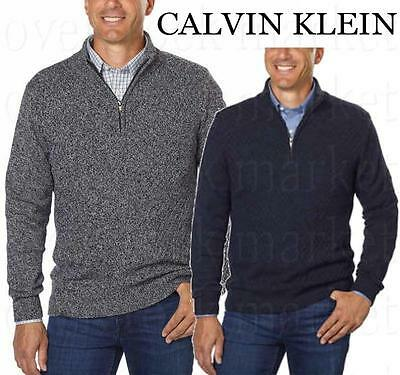 Ribbed Knit Mock Neck Sweater (New Mens Calvin Klein Knit Quarter Zip Mock Neck Sweater Ribbed Hem/Cuff Variety)