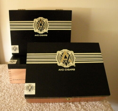 """$9.00<>Three (3) Same Size """"AVO Classic"""" Wooden Cigar Boxes<>Great Storage Boxes"""