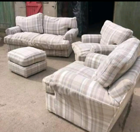 Large sofa with two armchairs