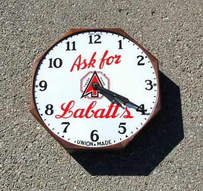 Original Antique 1940s Ask For Labatt's Porcelain Face Canadian Beer Clock