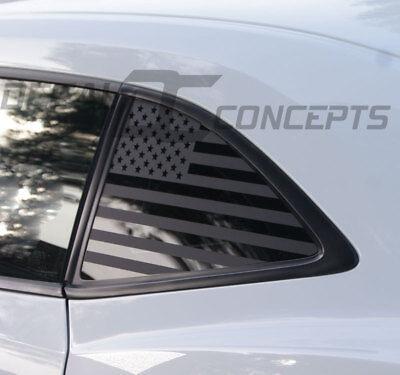 2010-2015 Camaro Flat Black American Flag Rear Quarter Window Accent Decal (2)