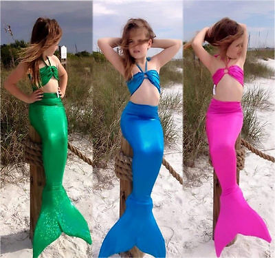 USA Mermaid Kids Girls Tail Bikini Set Swimwear Swimsuit Bathing Suit - Swim Suit Girls