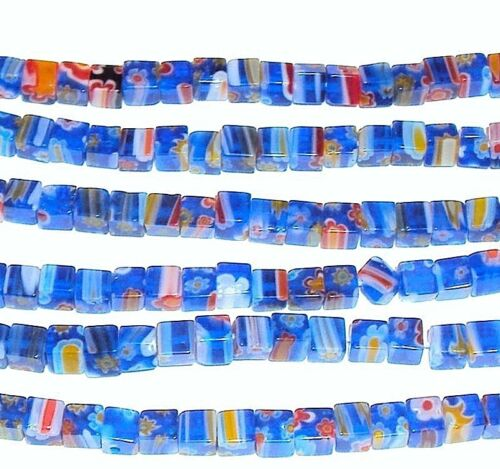 """G494 Blue with Multiple Color Flower 4mm Square Cube Millefiori Glass Beads 15"""""""