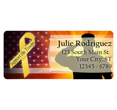 60 USA American Support The Troops Military Personalized Return Address Labels