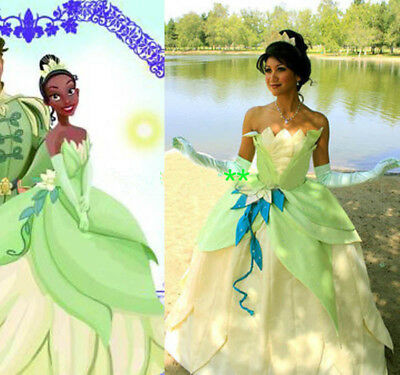Princess Tiana Dress Cosplay Costume Adult The Princess And The Frog Cosplay*YY - Princess And The Frog Costume Adults