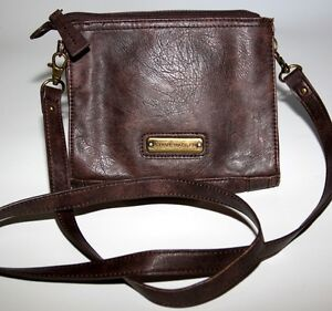 Steve Madden Brown Faux Leather Crossbody Bag