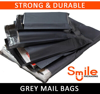 20 Large Mixed Grey Mailing Postal Bags 60mu - 5 Each Of 13x19 14x16 16x21 17x24