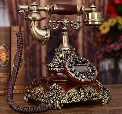 Wood European Luxury Antique phone Vintage palace noble corded telephone F042