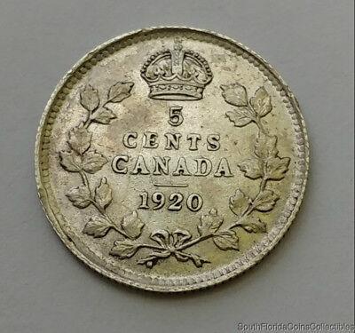 1920 Canada 5 Cent .925 Silver Coin