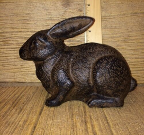 "Bunny Rabbit Cast Iron Door Stop 5"" tall 7 1/2"" long 17-04669"