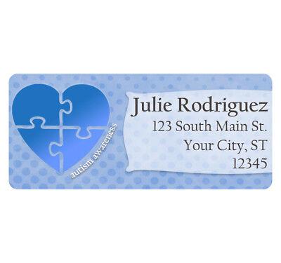 60 Autism Awareness Light it Up Blue Heart Personalized Return Address Labels (Ups Return Label)