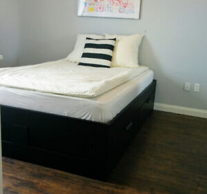 IKEA Brimnes Queen Size Bed Frame with 4 Large Storage Boxes
