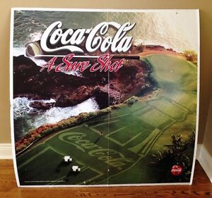 Huge Coca Cola Coke Golf Advertising 4' by 4' double sided!