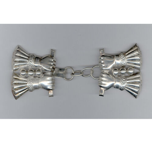 """Fancy Sterling Silver """"Four Grasping Hands"""" Coat / Cloak Clasp"""