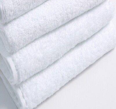 6 NEW WHITE COTTON HOTEL BATH TOWELS 22x44 NEW SOFT TOUCH SPA SALON GYM