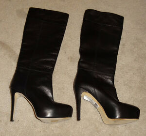 Brian Atwood black size 37 Tall Lady Leather Boots / Shoes New..