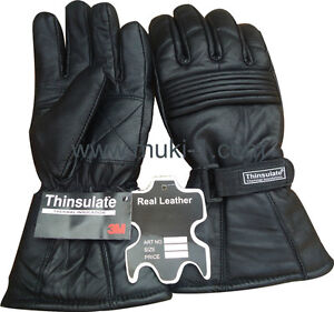 MEN WINTER THINSULATE LEATHER GLOVES BLACK /XXL THERMAL LINING