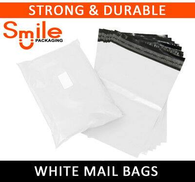 1000 LARGE WHITE BAGS OF 15x19 INCH STRONG POLY MAILING POSTAGE 60MU SELFSEAL XL