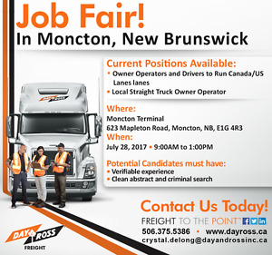 Class 1 Drivers and Owner Operators Job Fair Moncton NB
