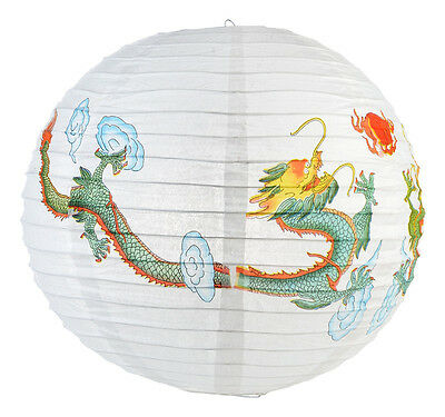 16'' Round Japanese Chinese Fortune Twin Dragon Home Party Decor Paper Lantern