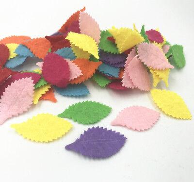 Felt Leaves (100pcs Leaves-shape Felt Card making decoration applique Mixed Colors)