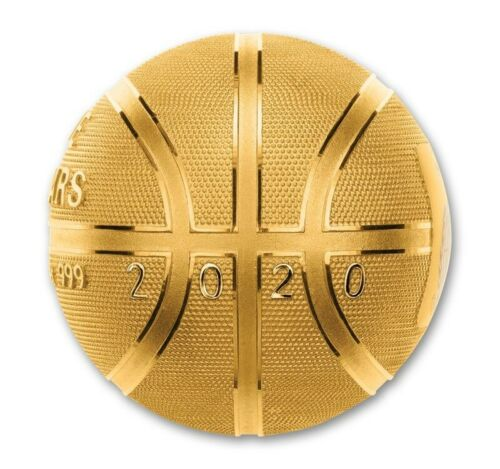 2020 Spherical Basketball Silver Proof Coin 1 oz - Plated in 24k Gold - Samoa