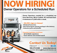 Scheduled Run for Owner Operators!