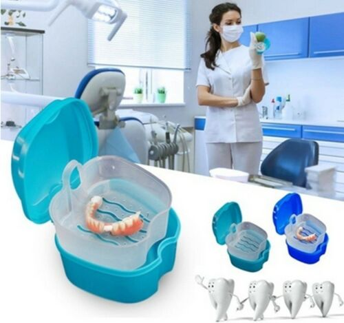 Denture Bath Cleaning Cup Dental Retainer False Teeth Box Denture Box Case EA7X