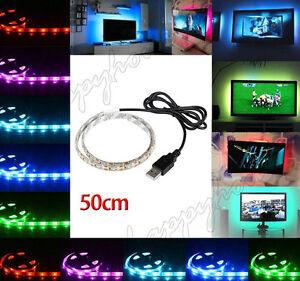 50CM 5V 5050 RGB LED Strip Light Colour Changing USB TV PC Back Mood Lighting