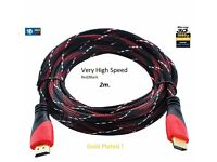 Very High Speed Gold HDMI to HDMI Cable 1080p V1.4 New 3D for HDTV XBOX PS3 2m !