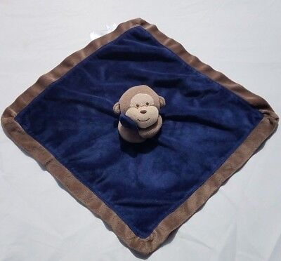 Carters Brown Tan Monkey Holding Navy Blue Velour Satin Security Blanket (Velour Satin)