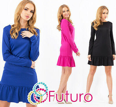 Tiered Fass (Womens Mini Tiered Dress Boat Neck Tunic Long Sleeve Shift Dress Size 8-12 FA336)