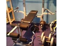 York fitness waights bench with two bars and dumbbells