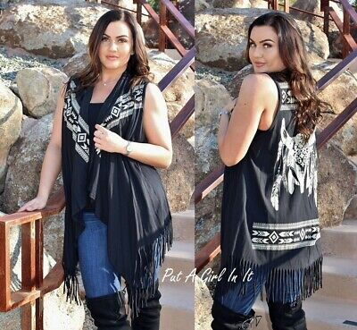 VOCAL PLUS SIZE WESTERN AZTEC BLACK STEER HEAD FRINGE COWGIRL CARDIGAN 1X 2X 3X - Plus Size Cowgirl