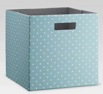Threshold Cube Storage Bin Basket Organizer Cubby Blue w/ White Polka Dot Handle Blue Storage Cubby