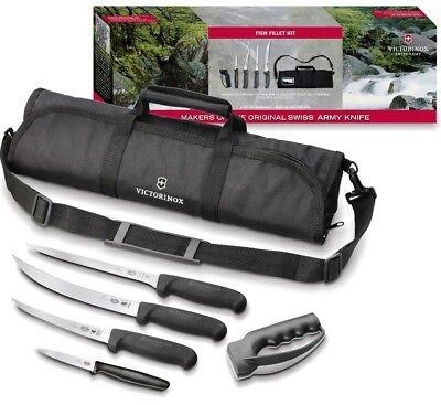 Swiss Army Fillet - Victorinox Swiss Army 6 PC Fibrox Black Fish Fillet Kit w/ Carrying Case 57615 *