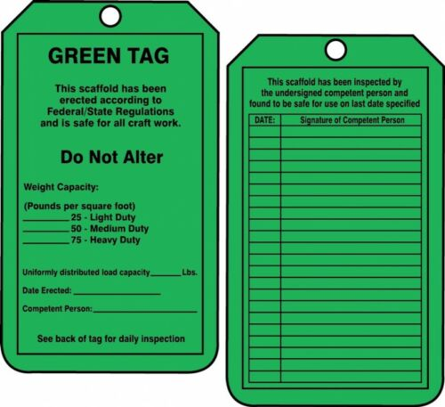 Accuform Bag of Tags: Scaffold Status Green Safety Tag, TRS209CTP, 25PK
