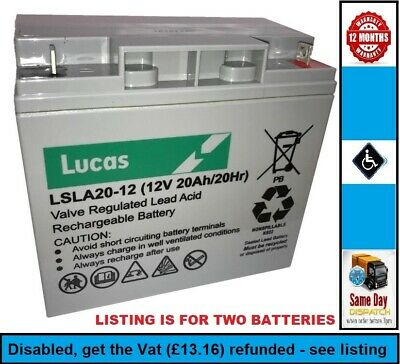 2 x 12V 20ah, Replacement AGM/GEL Type Mobility Batteries for Pride APEX RAPID