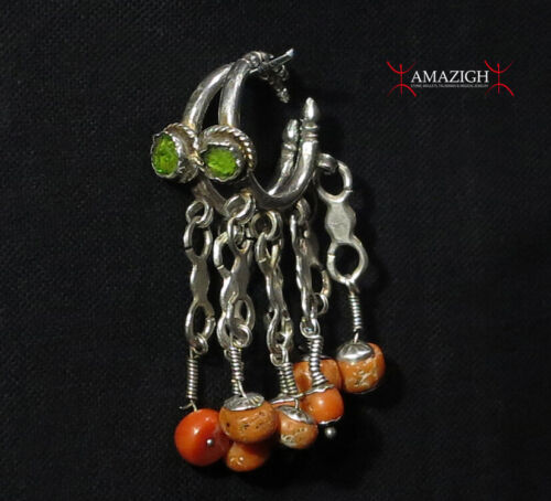 Antique Berber Earrings - Silver and Mediterranean Coral - Morocco
