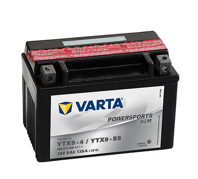 E 1 Batterie (VARTA Powersports 12V 8 Ah YTX9-BS AGM Motorradbatterie 8Ah Motorrad Batterie)